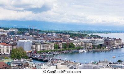 Timelapse  Geneva Mont Blanc bridge