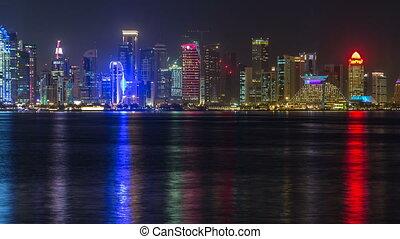 timelapse, gratte-ciel, doha, en ville, milieu, horizon, nuit, est, qatar