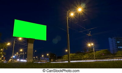 Timelapse - green screen billboard on highway
