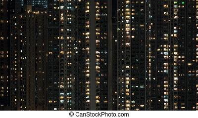 timelapse, haut-ascension, lumières, fenêtre, appartement, nuit, bloc