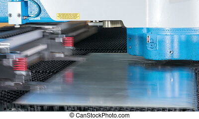 Timelapse high precision CNC Punching machine for sheet metal. Fast moving parts and receiving holes. Stamping parts.