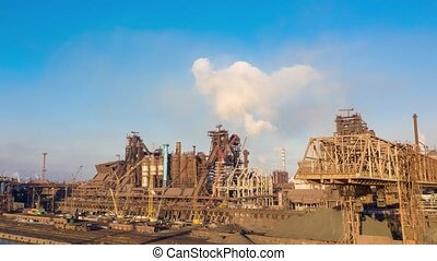timelapse hyperlapse. Aerial view. metallurgical production,...