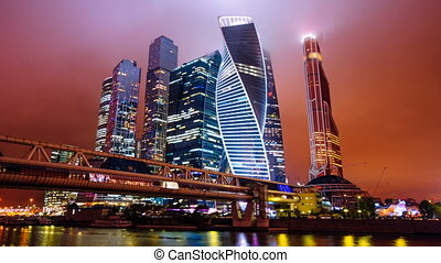 Timelapse hyperlapse of Moscow city international business district at night