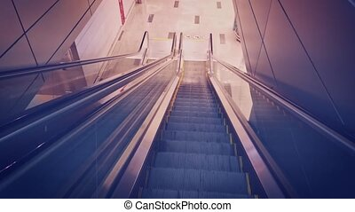 Timelapse hyperlapse shot of down escalator. Motion staircase in airport.