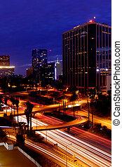 Timelapse Image of Los Angeles freeways at sunset - Los...