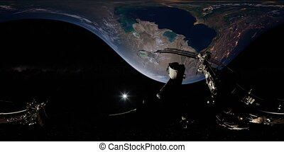 Timelapse ISS in virtual reality 360 degree video. ...