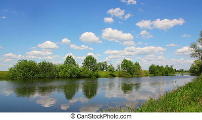 timelapse landscape with clouds over lake