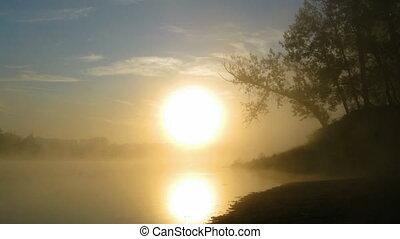 timelapse landscape with sunrise over river