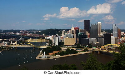 Timelapse looking down at Pittsburgh skyline