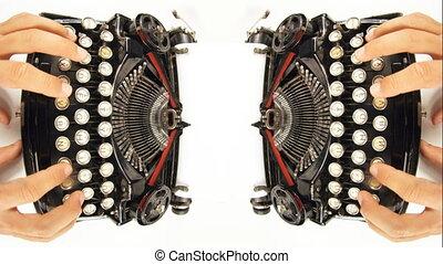 timelapse, machine écrire, fisheye, mains