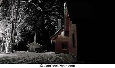 timelapse., magie, hiver, lituanie, nuit, wood)., chimney., maison, fumer, froid, gudasiai, (gredaiciai