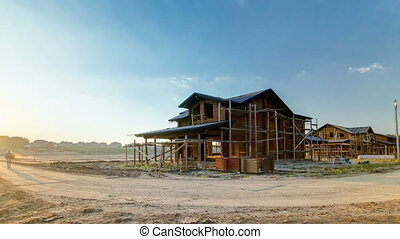 timelapse, maison bois, mishino, moscou, construction, sous, petite maison, russie