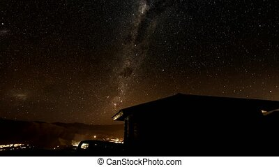 Timelapse - Milky Way rotates over cabin
