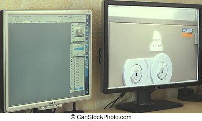 timelapse, moniteur ordinateur, deux
