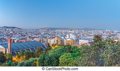 Timelapse,  montjuic,  Catalonia, aus,  Barcelona, Nacht, Spanien, Tag, Ansicht