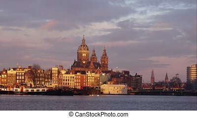 timelapse morning in Amsterdam. Netherlands, capital city,...