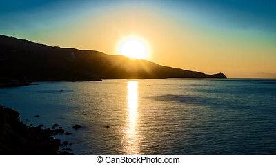 Timelapse. Morning landscape with sunrise