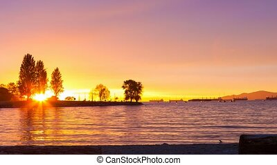 Timelapse movie at Sunset Beach along English Bay in...