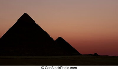 timelapse., napkelte, felett, a, piramis