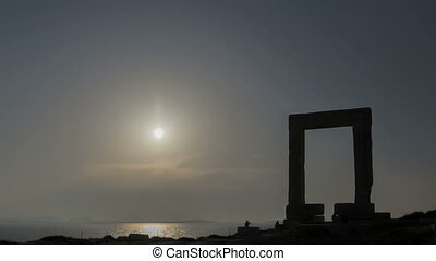Timelapse Naxos Gate - Time lapse of sunset behind the...