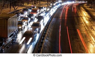 Timelapse Night City Traffic.