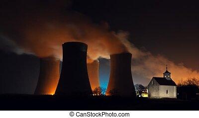 Timelapse nuclear power plant
