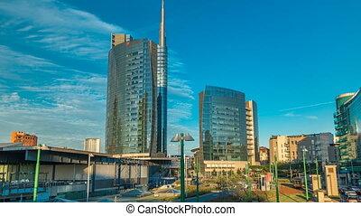 timelapse, nuova, gratte-ciel, business, italie, moderne, milan, porta, horizon, district, milan, sunset.