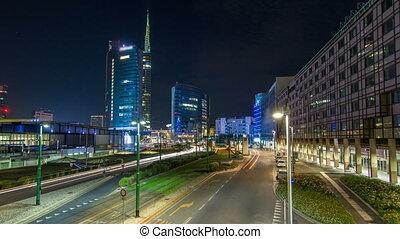 timelapse, nuova, gratte-ciel, business, moderne, milan, porta, horizon, district, nuit, italie, milan, hyperlapse