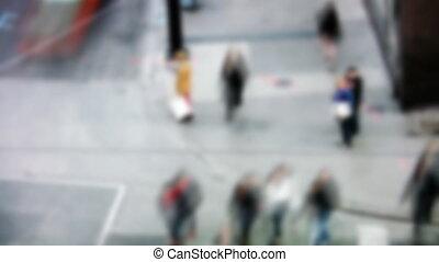 timelapse., occupé, corner., rue