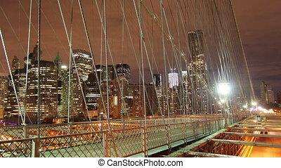 timelapse, od, brooklyn most, w nocy, nowy york