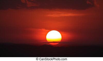 timelapse, od, zachód słońca, nad, przedimek określony przed rzeczownikami, górki
