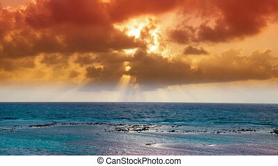 timelapse of a beautiful sunset over the caribbean sea,...