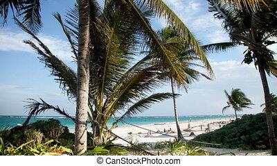 timelapse of a paradise beach, mexican caribbean coast