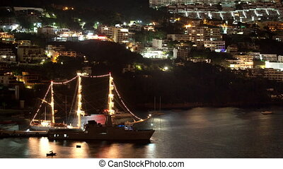 timelapse of a pirate ship and the bay of acapulco, mexico...