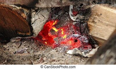 Timelapse of an intense bonfire. Bright yellow flames