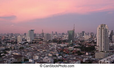 Timelapse of Bangkok city in evening and at night