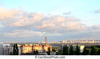 Timelapse of beautiful clouds moving over Kiev cityscape -...