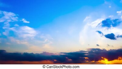Timelapse of beautiful dramatic sunset with dramatic sky and...