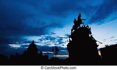 Timelapse of beautiful sunset at Saint Petersburg city...