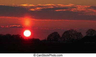 Timelapse of beautiful sunset halo