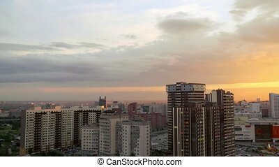 Timelapse of Beautiful sunset over the big city Novosibirsk