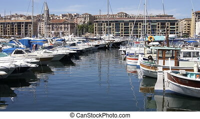 timelapse of boats and yachts moored in the vieux port of...