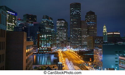 View on Boston city center at night: timelapse