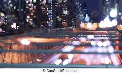 timelapse of brooklyn bridge at night, new york, using a tilt shift lens