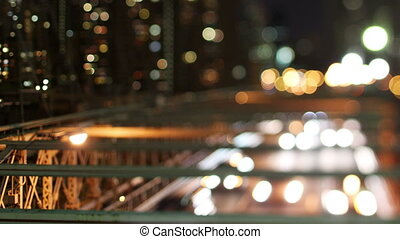 timelapse of brooklyn bridge at night, new york, super high...