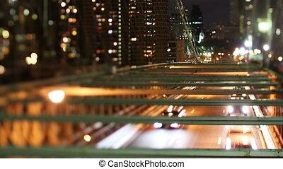 timelapse of brooklyn bridge at night, new york with a tilt...