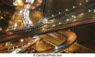 timelapse of brooklyn bridge from a high vantage point at...