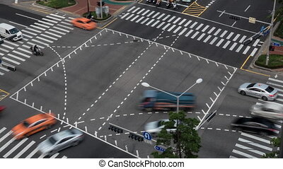 Timelapse of busy junction in Seoul, South Korea