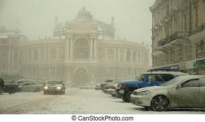 Timelapse of car traffic in winter city