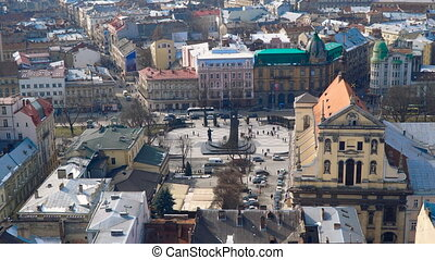Aerial view over the streets of Lviv